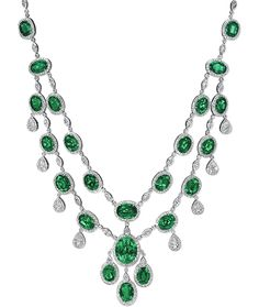 Cellini Jewelers Emerald and Diamond Necklace  Emerald and diamond necklace with a double row of emeralds linked with marquise and round brilliant-cut diamonds, with pear-shaped diamond drops; in 18-karat white gold.