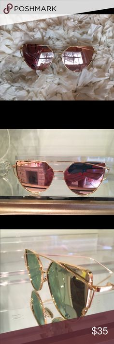 """""""Dior-like"""" sunglasses Very reflective; light pinkish tan color reflective with gold rims Accessories Sunglasses"""