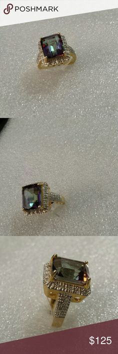 Ocean Mystic topaz 18 karat gold over sterling sil Beautiful Elegant Extraordinary Ocean Mystique topaz surrounded by diamonds  ring only for a princess 4 1\2 CARATS Jewelry Rings