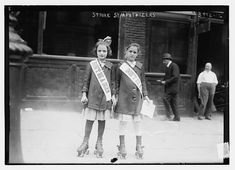 """Don't Be A Scab"" - Two girls on rollerskates distribute leaflets, 1916.  Photo credit: George Grantham Bain Collection / Library of Congress"