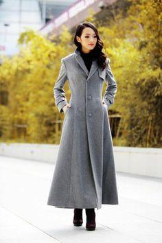 Grey Elegant Cashmere Coat Lapel Collar Women Wool Winter Slim Coat Long Jacket - from Sophia Clothing on Etsy. Abaya Fashion, Grey Fashion, Winter Fashion, Fashion Looks, Winter Outfits, Cool Outfits, Fashion Outfits, Fashion News, Mode Tartan