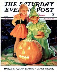 """""""Lighting the Pumpkin"""" 11/3/1934 by Eugene Iverd for The Saturday Evening Post, cover (per SEP)"""