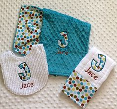 Baby Boy 3 PC Gift Set Personalized Bib by embroideredtreasures, $38.50