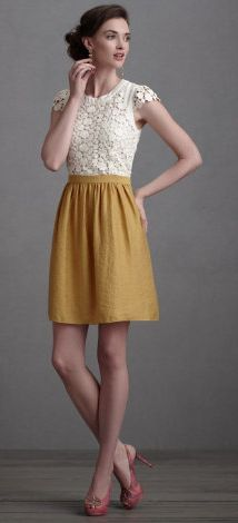 Adorable. This combines two of my favorite things - lace and mustard yellow.