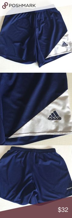 """Women's Adidas Climalite Navy Blue & White Shorts Women's Adidas Climalite Navy Blue and White Shorts Size Small •Size: Small •Material: 100 polyester •RN#: 88387 •Waist: 24""""and 30"""" when stretched  •Front rise: 9.8""""  •Back rise: 15"""" •Length: 13.5"""" •Inseam: 5"""" •Leg opening (lying flat): 12"""" •In good condition (no tears or stains) •From a smoke-free and pet-free home •Reasonable offers accepted adidas Shorts"""