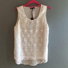 """C. Luce NWT Crochet Blouse so pretty - C. Luce for Stitch Fix NWT off white crochet overlay sheer blouse. bust measurement from arm pit to arm pit is 18"""" length shoulder to hem is 23.5"""". I feel this runs smaller than most larges in the bust so please compare measurements to other tops you own. 100% poly. NWT - never worn. Stitch Fix Tops Blouses"""
