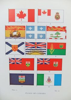 Flags of Canada - Flags of the World - vintage paper ephemera- vintage print - vintage bookplate - home decor on Etsy, £5.00