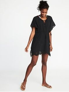 e719fce9a7 Stylish pool coverups for women  Embroidered gauze caftan at Old Navy