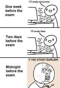 y u no meme before exams- Lol Image