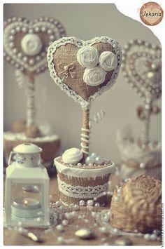 """Подарки для влюбленных ручной работы. Ярмарка Мастеров - ручная работа. Купить Топиарий """"Сердце"""". Handmade. Бежевый, подарок для влюбленных, сердце"""