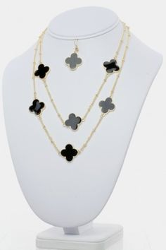 Clover Necklace Set  Necklaces  MORE COLORS AVAILABLE Refer a Friend is going to close at midnight--get your friends signed up