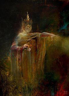 The Hierophant 's Garden - Daniele Valeriani, 2018 Arte Horror, Horror Art, Les Fables, The Hierophant, Dark Artwork, Macabre Art, Scary Art, Occult Art, Dark Fantasy Art