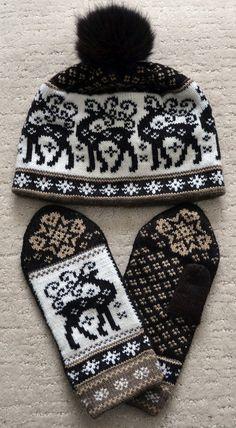 NORWEGIAN Scandinavian Hand Crafted 100% wool HAT and MITTENS set, M / L, folk…