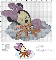 Baby Minnie che dorme sulla nuvola - schemi punto croce gratis