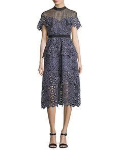 Yoke+Frill+Lace-Guipure+Midi+Cocktail+Dress+by+Self-Portrait+at+Neiman+Marcus.