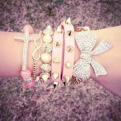sparkly fashion pink bracelets gold bow girlie fashion photography
