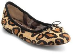 Sam Edelman Felicia Leopard-Print Leather Flats      Take a walk on the wild side with these leopard print Sam Edelman ballet flats. The round-toe ballet flats are finished with a sweet bow detail while the padded insole and low heel make them ideal for walking. .Slip-on with elastic gore. Round toe. Padded footbed. Synthetic sole. Imported. Affiliate