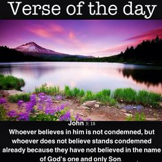 Verse of the day: John 3:18 Whoever believes in him is not condemned, but whoever does not believe stands condemned already because they have not believed in the name of God's one and only Son. #verseoftheday