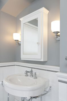 Paint color?? Designed by Elizabeth Bland. 1940's Cape Cod, Highland Park bath remodel. Traditional wall sconce lighting