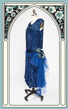 1920s Blue Sequined & Beaded Floral Dress with Silk Chiffon Sash & Vel – Bygones