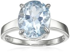 Sterling Silver Oval Blue Topaz Ring, Size 6. Gemstones may have been treated to improve their appearance or durability and may require special care. The natural properties and composition of mined gemstones define the unique beauty of each piece. The image may show slight differences to the actual stone in color and texture. Imported.
