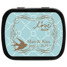 A Love Story Personalized Wedding Favor Mint Tins, Edible Keepsake perfect for a vintage wedding