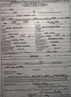 Wise County Birth Certificates (1900-1930's) Last Names A-G