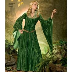 Simplicity sewing pattern for Misses' costumes includes dress with neckline and sleeve variations plus separate bodice piece for layering. From designer Andrea Schewe. Costume Patterns, Fantasy Costumes, Medieval Clothing, Simplicity Sewing Patterns, Bodice, Neckline, Aurora Sleeping Beauty, Sari, Unique
