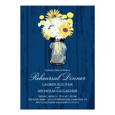 Wedding Rehearsal Dinner Announcement. Background in Navy Blue Rustic Barn Wood design with a Mason Jar filled with white daisies, sunflowers and yellow Billy Balls.   ♥ For more rustic wedding invitations see http://www.zazzle.com/rustic+wedding+invitations?rf=238252963030229232&tc=wpz  ♥