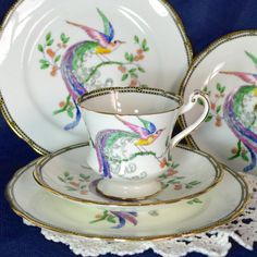 1920s Paragon Trio Bird of Paradise Pattern - Footed Pinched Waist Tea Cup, Saucer and Tea Plate - English Fine Bone China - 1920-33