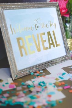 Printable Gender Reveal Party – Mint, Peach and Pink – Elys Ramos Cortes - Space Glitter Gender Reveal, Gender Reveal Themes, Baby Gender Reveal Party, Gender Party, Baby Party, Baby Shower Parties, Mint Party, Baptism Party, Gender Predictor