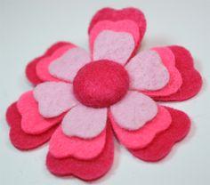 Fuchsia, Shocking Pink and Light Pink Felt Flower Hair Clip