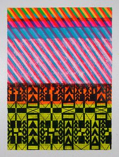 Original Painting, Pink, Yellow & Black Geometric NY1223  // Jennifer Sanchez Art