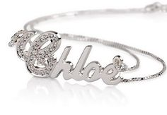 Personalized Name Necklace 925 Sterling Silver with Swarovski stones $77.00