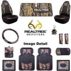 Realtree Outfitters Camo Car Truck SUV Front & Rear Floor Mats Seat Covers Steering Wheel Cover Key Chain Seat Belt Pads Litter Bag CD Visor Windshield Sunshade - Combo Kit Gift Set - 13PC