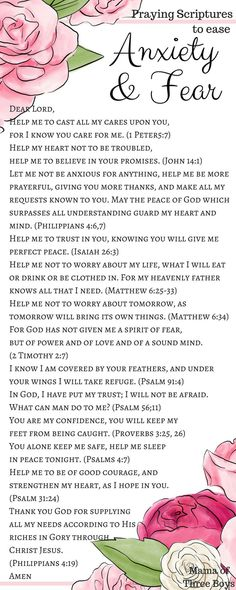 During times of Anxiety, take time to open your bible and read through these verses out loud. Meditate on them during your periods of doubt, and fear, and restlessness. Ask the Lord to quiet your mind. Prayer Scriptures, Bible Prayers, Scriptures On Fear, Healing Scriptures, Verses On Fear, Strength Scriptures, Bible Teachings, Catholic Prayers, Power Of Prayer