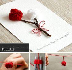 A postcard with pom poms / martisor Diy And Crafts, Crafts For Kids, Paper Crafts, Arts And Crafts, Fabric Roses, Fabric Yarn, Diy Sock Toys, Baba Marta, Diy Paper Christmas Tree