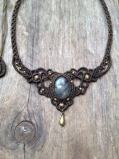 Micro macrame necklace tiara Labradorite boho par creationsmariposa, $72.00