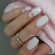 """One of the most important trends in the world of manicure in 2020 become """"milk nails"""" or «Milky Nails Glam Nails, Bling Nails, Square Nail Designs, Nail Art Designs, Nails Design, Neutral Nail Designs, Milky Nails, Nails Kylie Jenner, Romantic Nails"""