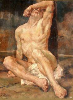 St.Sebastian. Johann Kluska. German. 1904-1973. watercolor. http://hadrian6.tumblr.com