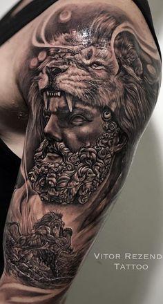 Lion Head Tattoos, Bull Tattoos, God Tattoos, Tribal Tattoos, Warrior Tattoos, Tatoos, Cool Chest Tattoos, Chest Piece Tattoos, Arm Tattoos For Guys