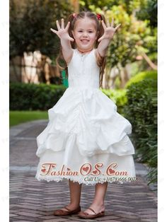 White A-line V-neck Tea-length Flower Girl Dress Taffeta and Lace Pick-ups- $89.59  http://www.fashionos.com  http://www.facebook.com/quinceaneradress.fashionos.us   The skirt filled with ruffles make the dress as cute as a doll. What's more, the lace on the hemline makes the girl as pretty as a little princess. This dress will help you catch the light in a lovely way!