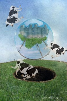 falling cows mixed media by ansjejoanna