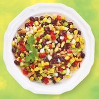 Summer Corn & Bean Salad - Delicious and easy to make! I only used 2/3 of the sugar & apple cider vinegar mix that the recipe called for, because I didn't want to use that much sugar.  I also served it with fresh cut wedges of lime to squeeze on top. Excellent!