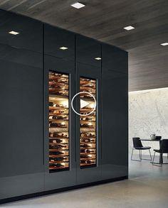 Cave à vin design Modern Kitchen Cabinets, Kitchen Units, Kitchen Cabinet Design, Modern Kitchen Design, Kitchen Interior, Kitchen Wood, Wine Cabinets, Kitchen Ideas, Kitchen Island
