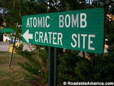 Atom Bomb Dropped Here, Mars Bluff, South Carolina.  Site of where a 26-kiloton Mark 6 bomb accidentally fell out of a B-47 into the backyard of Walter Gregg.  The plutonium core did not explode, but rather 6000 lbs of high explosives created a huge crater and destroyed their house.
