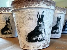 """Tutorial - printed graphic on tissue paper, decoupaged on painted peat pot - love the """"rough"""" look - by My Hearts Song #crafts #peat #pot"""