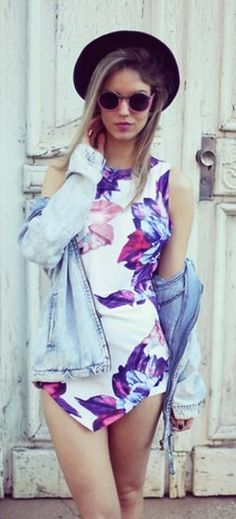 Online shop 2014 new women summer jumpsuits flower printing flounced playsuit floral printed free shipping 851446