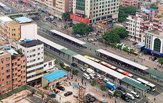 Innovative form of mass transit, Bus Rapid Transit (BRT)- shown here in Guangzhou brt
