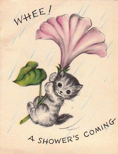 Vintage 1950s Whee A Shower's Coming by poshtottydesignz